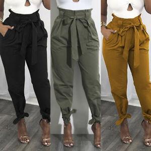 Women-Frill-High-Waist-Casual-Plain-Long-Pants-Bowknot-Harem-Pants-Trousers-Plus