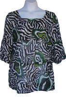 Harari Green Black White Sheer Silk Tunic Top Size 2x Drawstring Waist