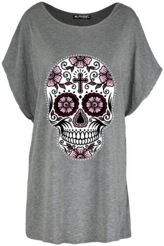 Womens Baggy Ladies Batwing Lagenlook Halloween Skull Teeth Scary T Shirt Top