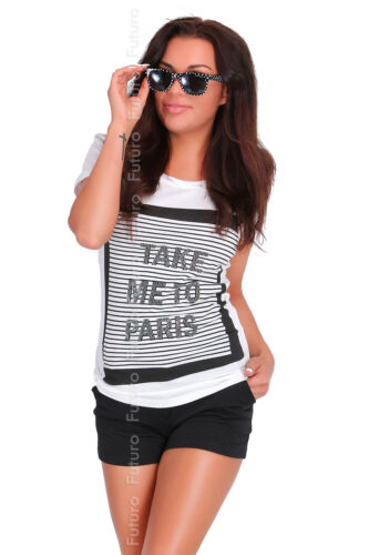 Casual Sequined T-Shirt Take Me To Paris Print Top Party Tunic Sizes 8-12 FB260