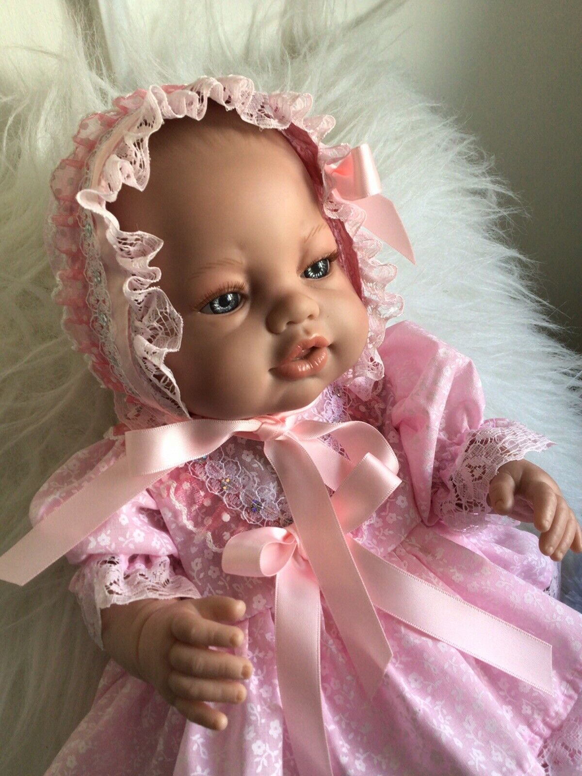 Handmade Dress,Hat & Pants Pink Fleur-fits a16in Spanish doll/42cm baby Annabel.