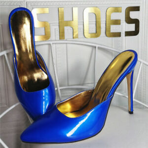 women sexy high heel mules pointy stiletto party evening