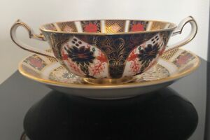 Royal Crown Derby Old Imari # 1128 Cream Soup Bowl and Saucer