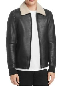 Theory Men S Shearling Bomber Jacket Leather And Fur Sheepskin Coat