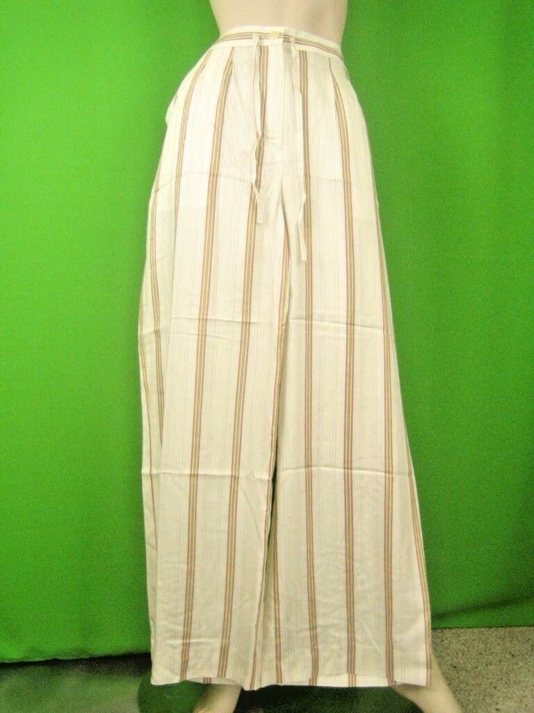 DKNY Striped Ivory Fabric NWT Classic Summer Pants S