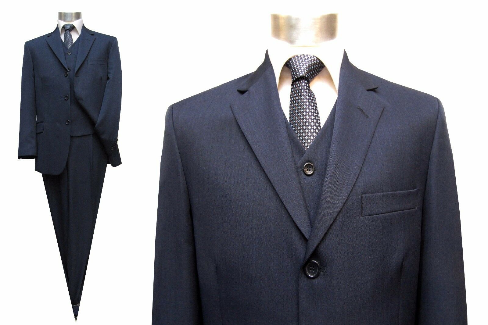 Herren Anzug mit Weste Gr.68 Marine Blau