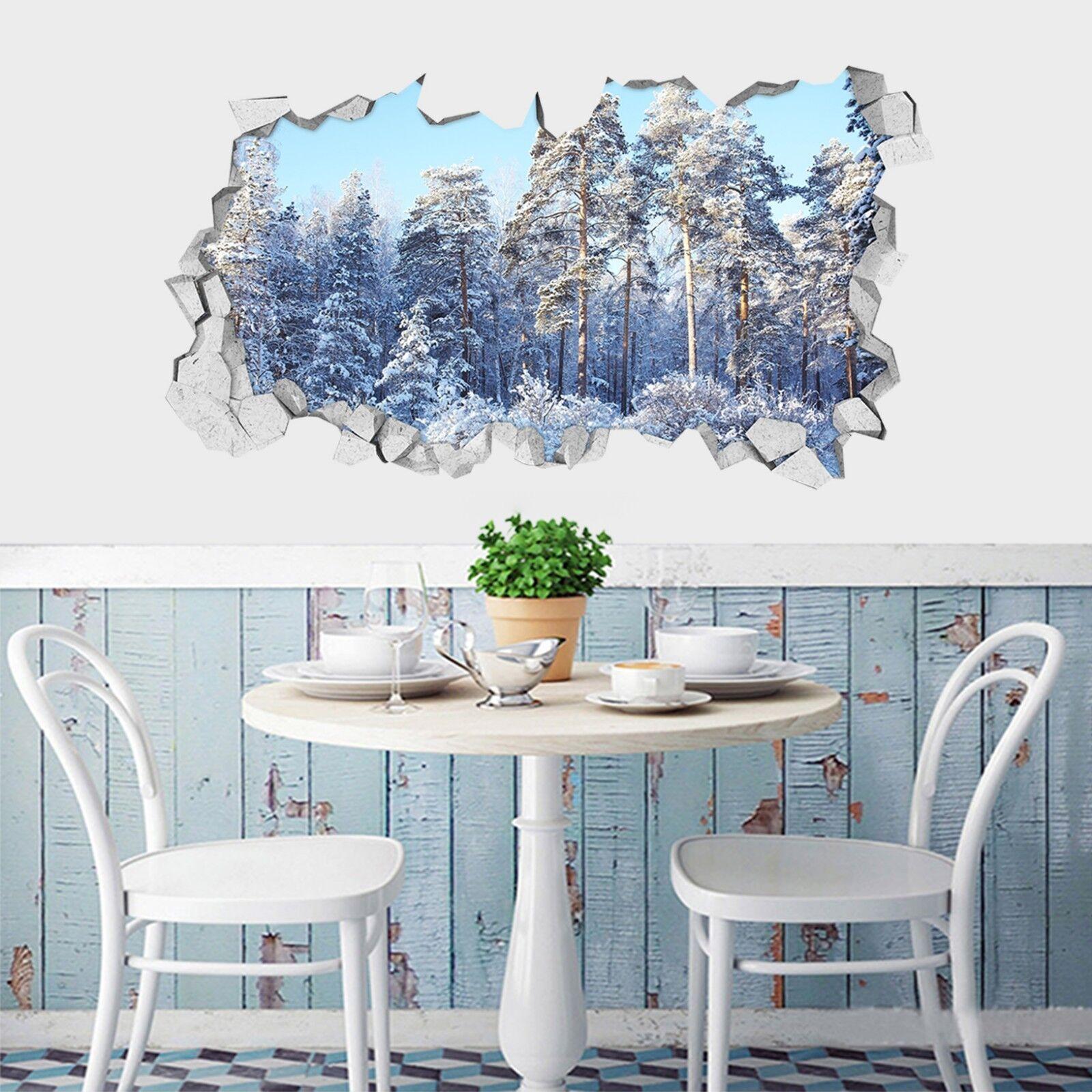 3D silverner Wald 1 Mauer Murals Mauer Aufklebe Decal Durchbruch AJ WALLPAPER DE
