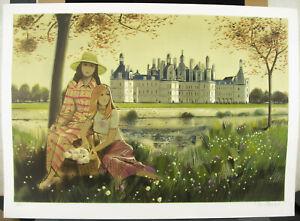 Robert-Vernet-Bonfort-Print-c1980-Jeunes-Filles-IN-The-Park-Of-Castle-29-7-8in