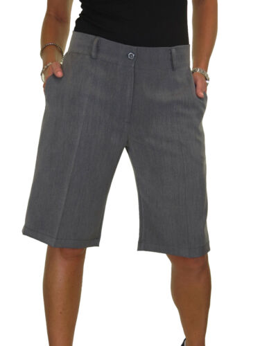Ladies Smart Casual Washable Tailored Shorts Grey Marl NEW 8-22