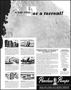 1942 Peerless Pumps water industrial commercial home vintage art print ad L79