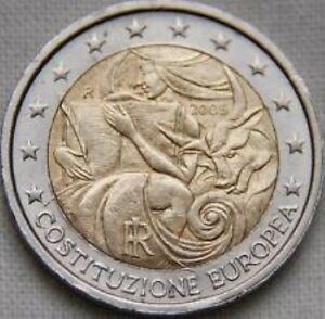 Italië  2005    2 euro commemo  Europese Grondwet     UNC uit de rol !!!