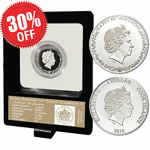 Authentic-2016-Queen-Elizabeth-90th-Birthday-Proof-999-9-Silver-Limited-Coin-COA