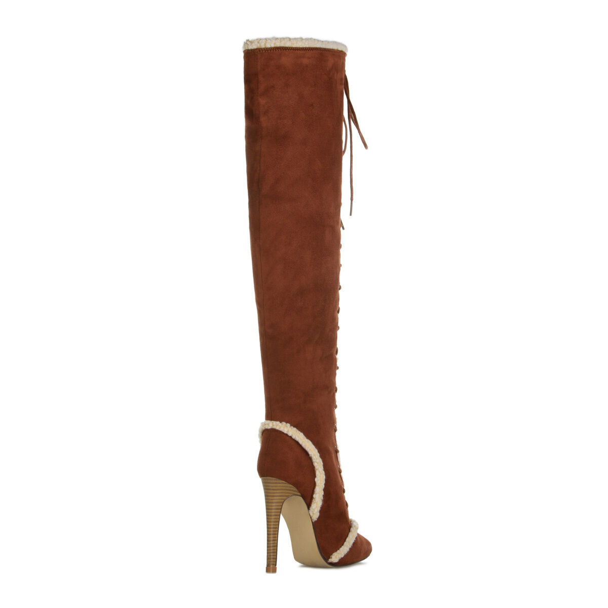 NEW Lace-up Pointed-Toe Over-the-Knee Stivali w/ Faux-Shearling Accents Size 8 8 Size efad08