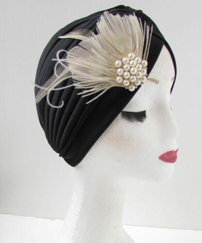 Noir /& Ivoire Blanc Perle Plume turban bandeau années 20 vintage turban déco W90
