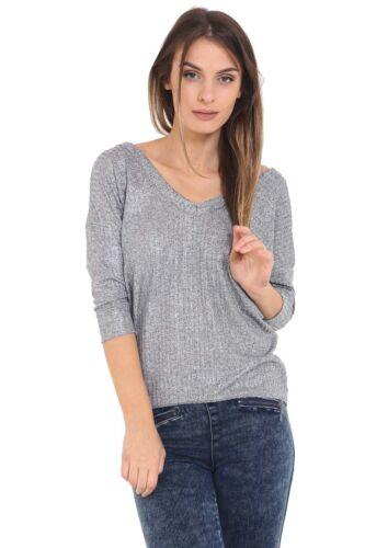 Womens Cross Back V Neck 3//4 Sleeve Stripe Metallic Stretch High Low Top