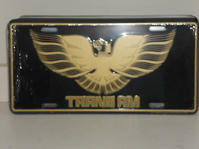 TRANS AM-BLACK /& GOLD PONTIAC WITH BIRD ALUMINUM LICENSE PLATE MADE IN USA GM
