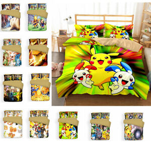 3D Pokemon Pikachu Raichu Bedding Set Quilt Cover Pillowcase Comforter Cover Set