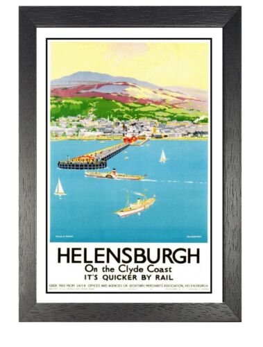 Helensburgh On The Clyde Railway Old Advert Poster Scotland Photo Beach Sea