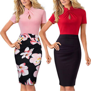 Women-039-s-Elegant-Formal-Office-Work-Casual-Business-Church-Bodycon-Pencil-Dresses