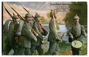 Antique-WW1-German-military-postcard-Deutschland-Deutschland-Uber-Alles
