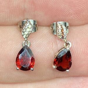 Vintage-Sterling-Silver-amp-Garnet-Studded-Dangle-Drop-Post-Pierced-Earrings