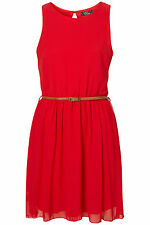 BNWT Rare @ Topshop Open Back Skater Belted Red Dress, Size 8, RRP £35