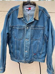 Details zu VINTAGE 90'S TOMMY HILFIGER MENS DENIM JACKET USA FLAG SZ M
