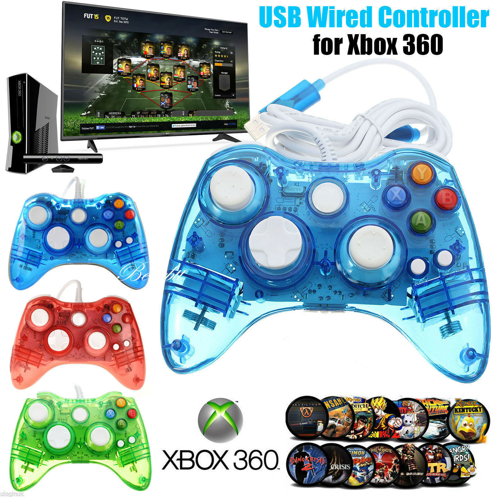 USB Wireless/Wired Game Controller+Wireless Controller Keyboard For XBOX 360& PC 3