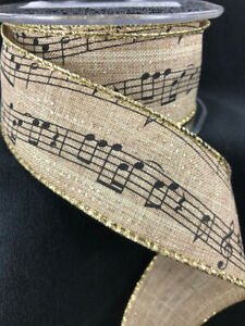 Wired-Burlap-Music-Notes-Ribbon-10-Yards-1-5-034-Wide-Musical-Crafts-Bows