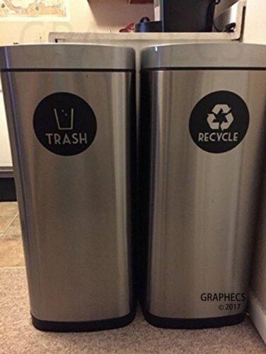 Recyclez et Trash Vinyle lettrage autocollant stickers VERT RECYCLER /& BLACK TRASH