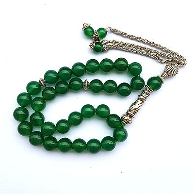 Natural Green Agate Prayer beads Islamic Muslim Tasbih 33 Rosary Misbaha bead