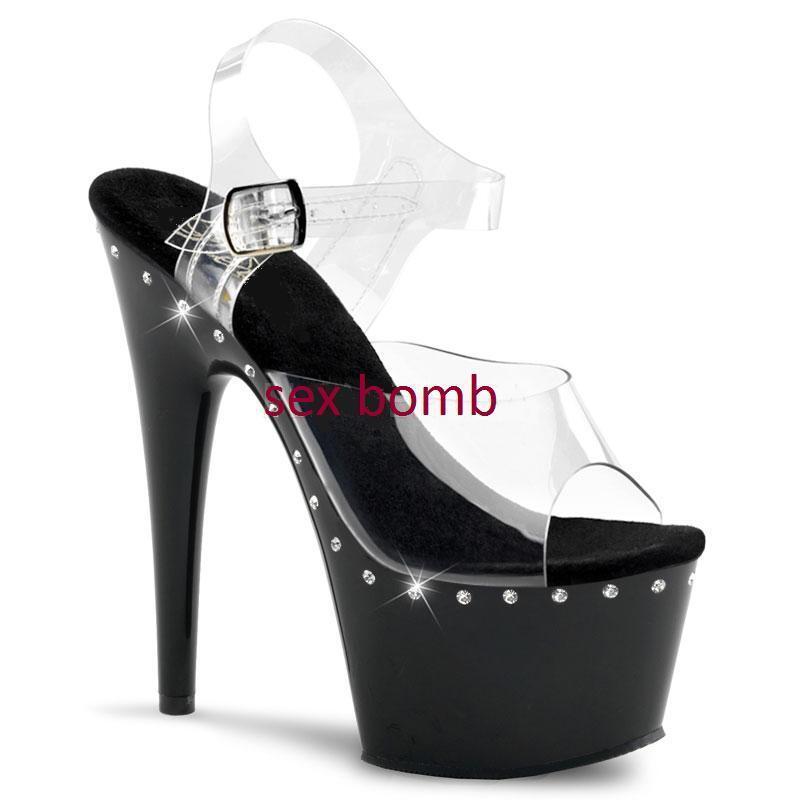 SEXY sandali cinturino STRASS plateau tacco 18 dal 35 al 42 fashion GLAMOUR !