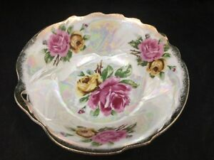 VINTAGE-IRIDESCENT-CERAMIC-CANDY-DISH-BOWL-WITH-GOLD-TRIM-amp-PINK-amp-GOLD-FLOWERS