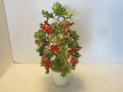 """Vtg Holly PLANT LUCITE LEAVES plastic berries silk wrapped wire Retro Italy 14""""H"""