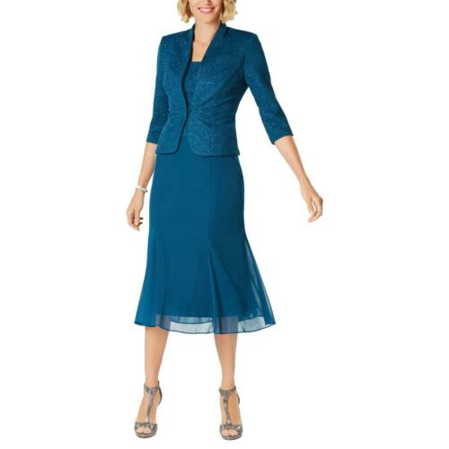 Alex Evenings Womens Blue Glitter Midi A-Line Dress With Jacket 14 BHFO 0225