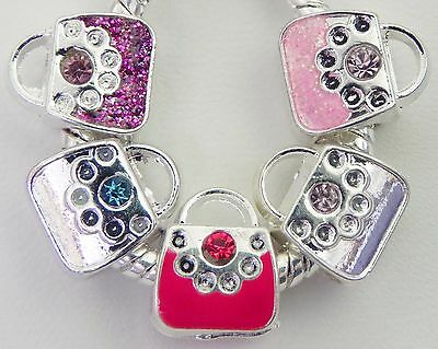 5 Purse Handbag Charms are Multi Colored European Style  9 * 11 & 5 mm Hole S020