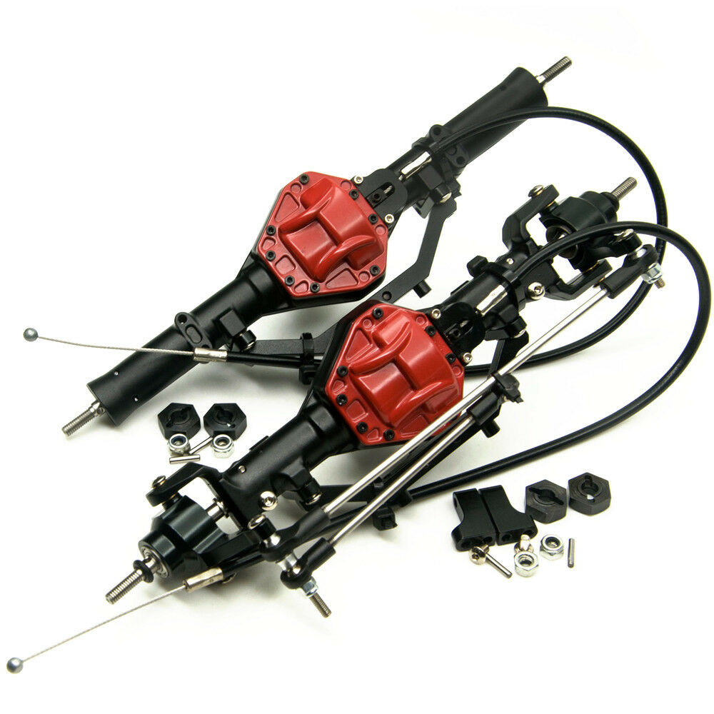 Alloy Front & rear axle w 4wd differential lock para axial scx10 1 10 RC Crawler