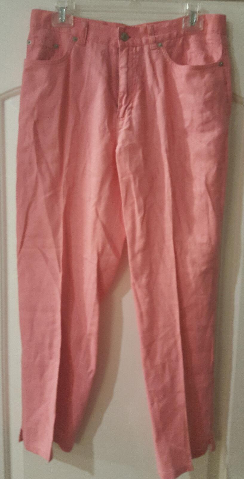 Lauren Jeans Co, Pink Linen Cropped Jeans, Woman's, Size 10, EUC
