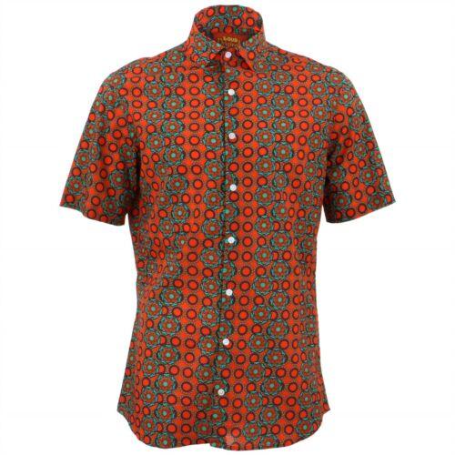 Camicia da uomo forte Originals calzata su misura rosso papavero Retrò Fantasia Psichedelica