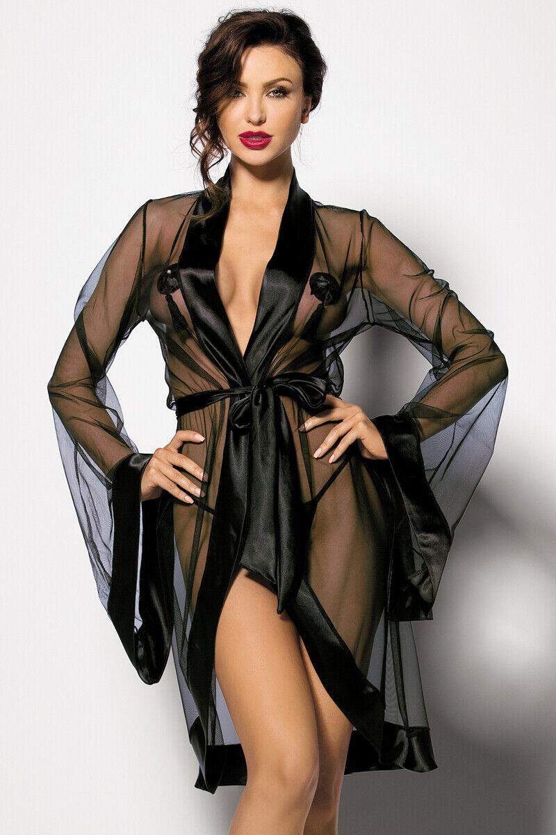 Robe de Chambre Anthis Noir Lot avec Stbague Kimono Transparent en Tulle