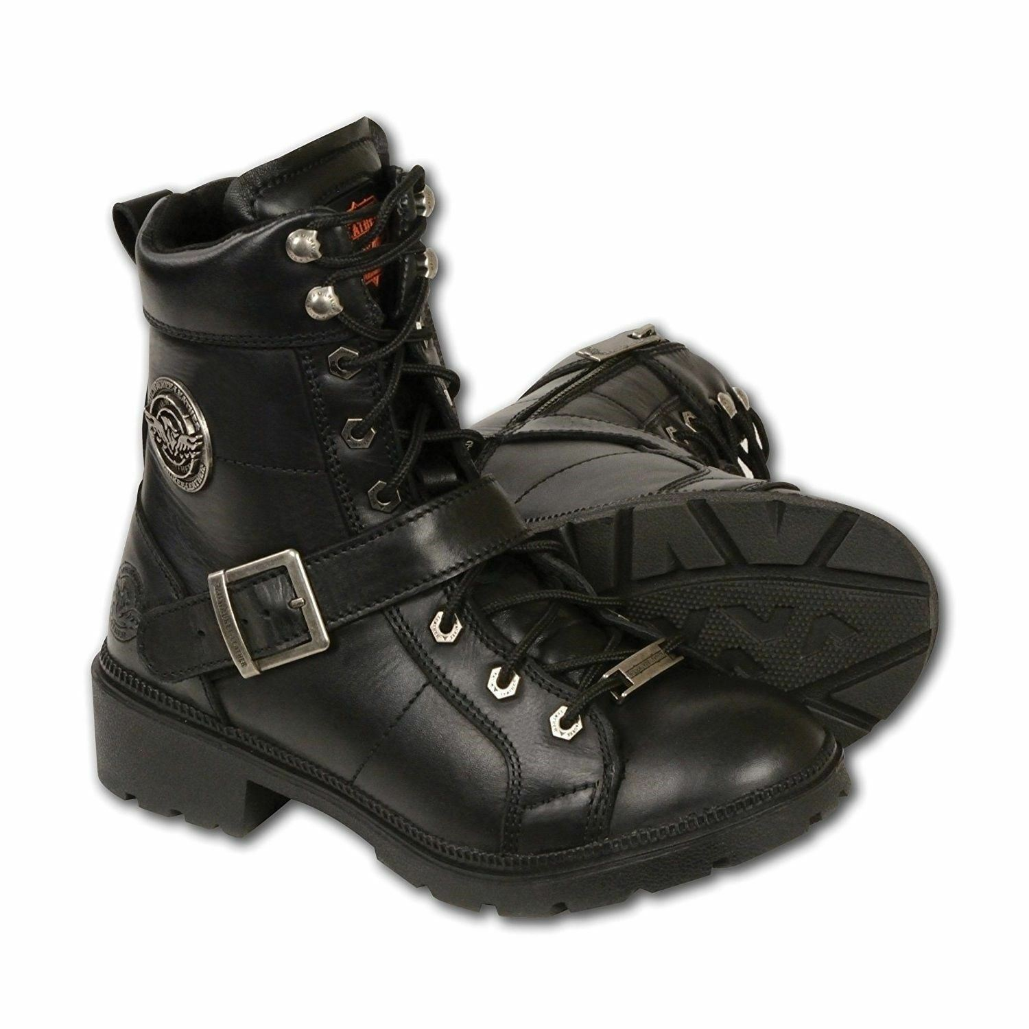 MILWAUKEE LEATHER LADIES LACE TO TOE BOOTS w/ PLAIN TOE & ZIPPER - USABR