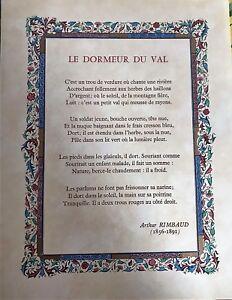 Lucy Boucher Poeme Enlumine Le Dormeur Du Val Arthur Rimbaud Neuf