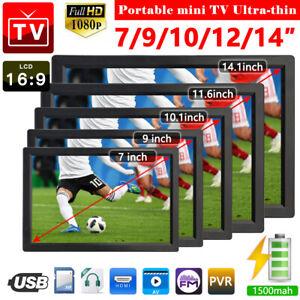 14'' Freeview 1080P HDMI HD Portable TV Digital Television Player 12V & UK Plug