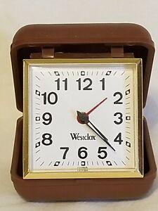 Vintage Westclox Travel Alarm Clock Wind Up Hard Plastic Case