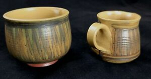 Alvingham-Pottery-small-Milk-Jug-and-bowl-Pru-Green-Hand-Painted-Autumn