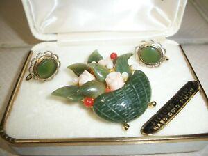 Vintage Swoboda Flower Basket Pin With Jade 14kt Clip on Earrings