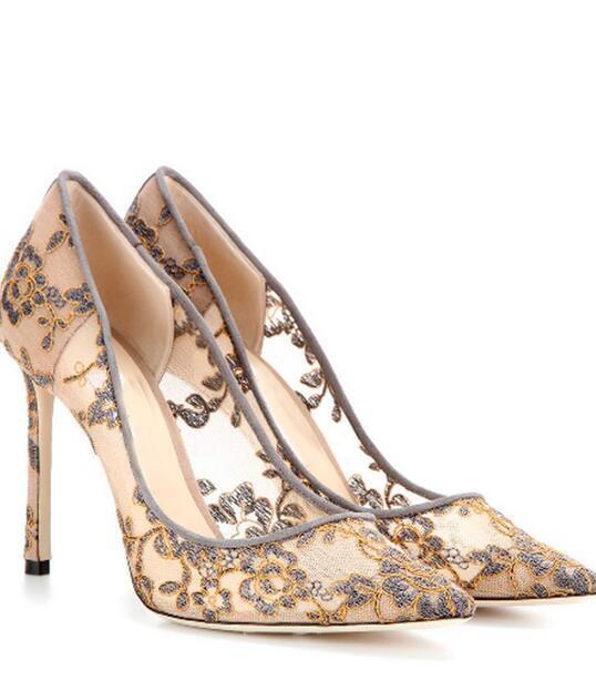 Las Las Las nuevas señoras Puntera Puntiaguda Stilettos Tacón Alto Zapatos De Salón Fiesta Boda de Encaje Floral  ventas en linea