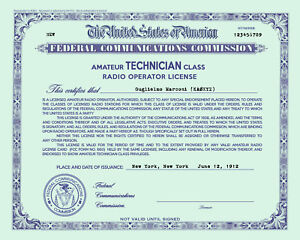 Personalized-Repro-Old-Style-Amateur-Radio-License-Ham-Choice-of-Class-GREEN