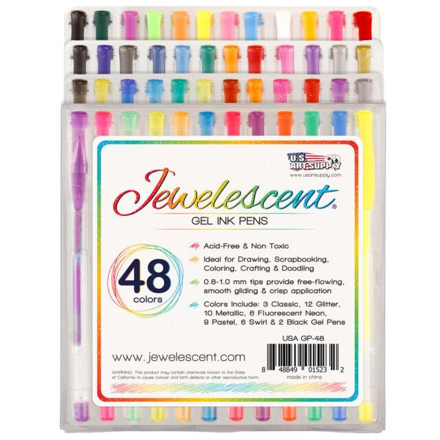US Art Supply Jewelescent 48 Color Gel Pen Set Glitter, Metallic, Neon, Pastel