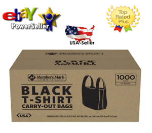 Details About Member S Mark Black T Shirt Carryout Bags 1 000 Ct Best Plastic Quality